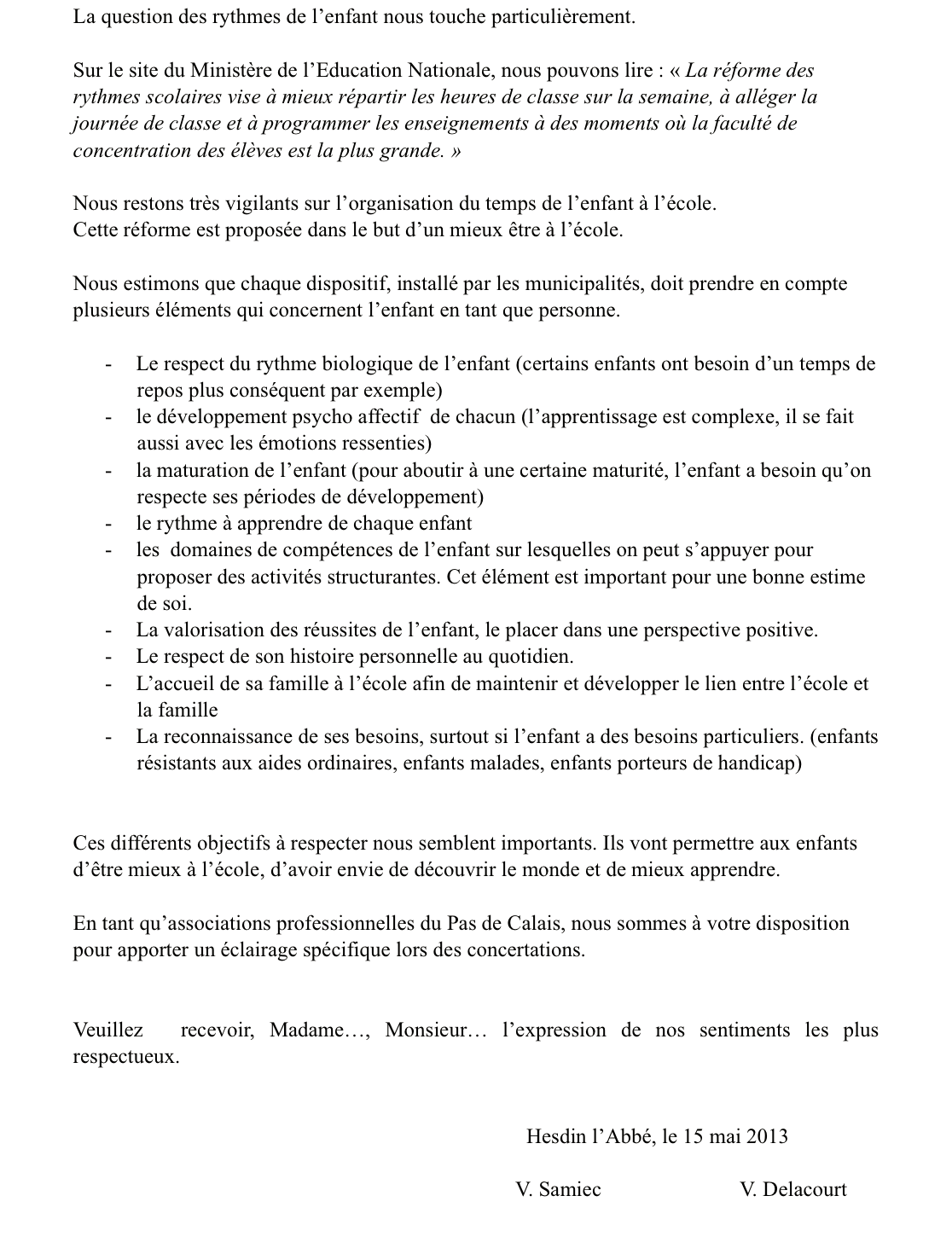2 lettre commune rythmes scolaires AME_ ALRAL