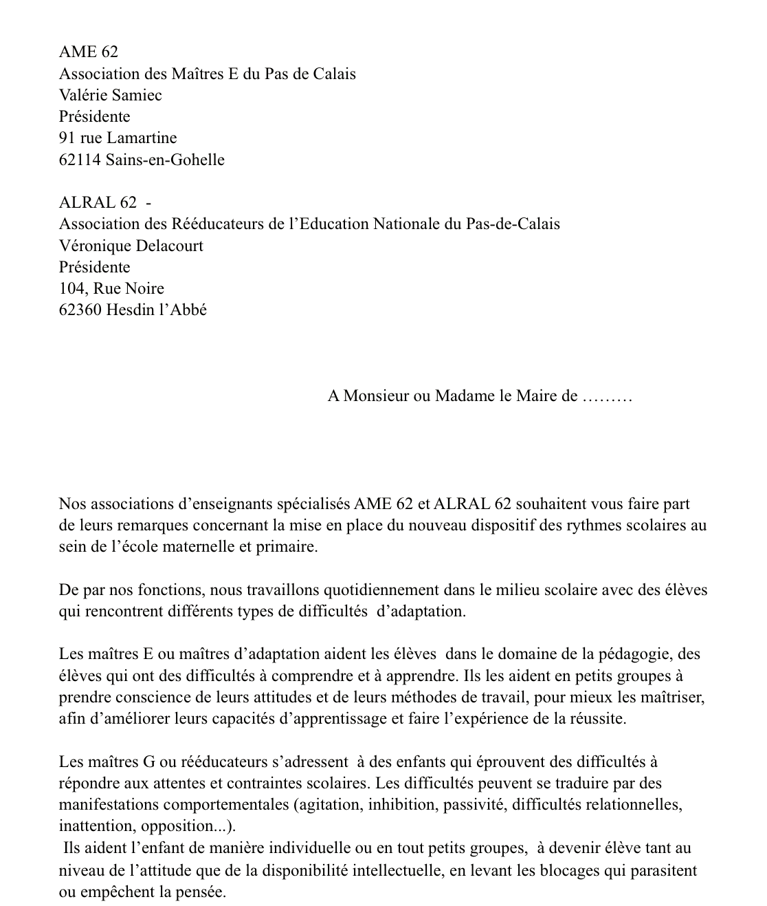 lettre commune rythmes scolaires AME_ ALRAL